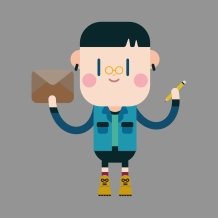 © Vectorchef | Dreamstime.com - Character Boy Write Letter Theme Elements Photo